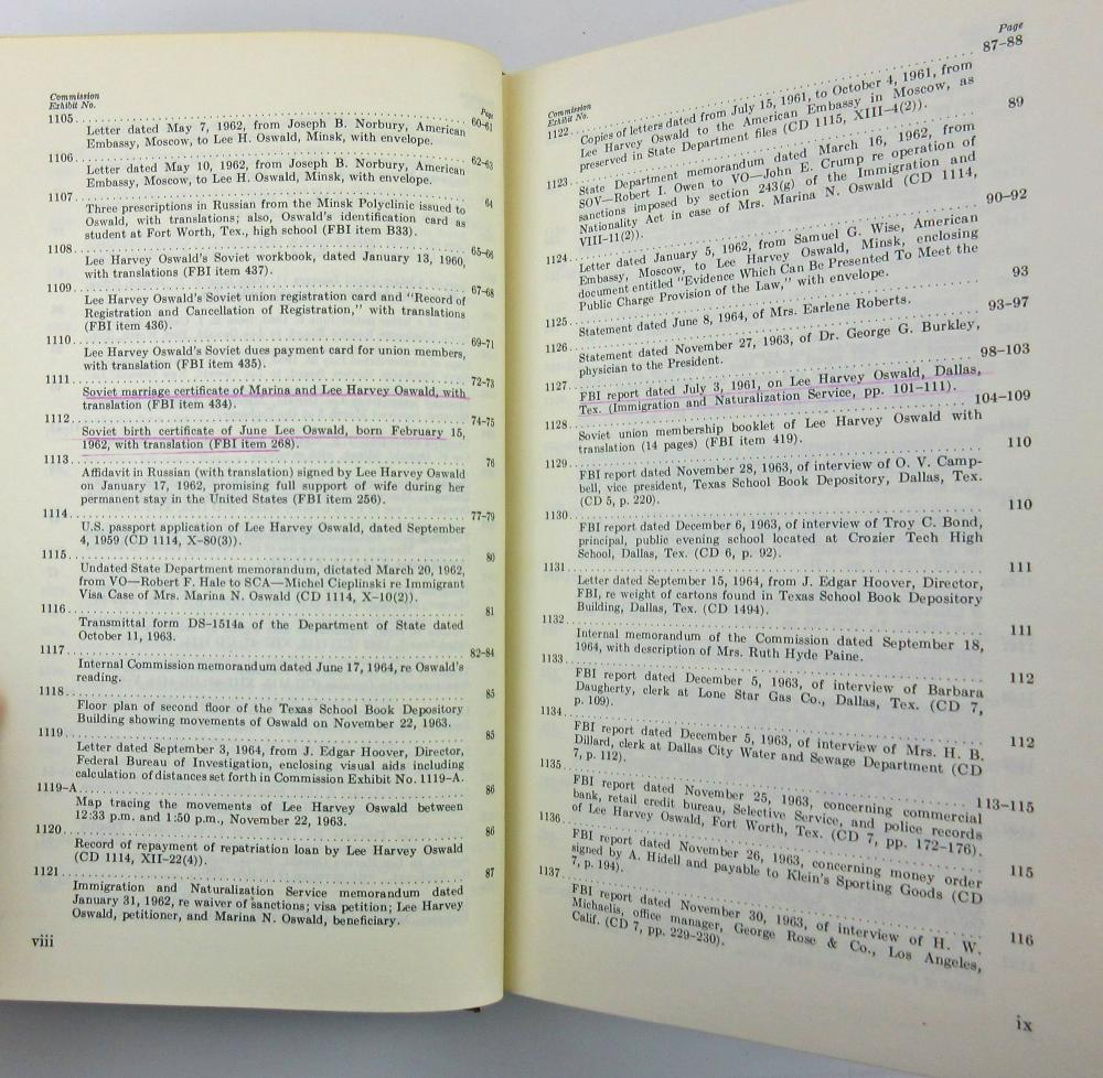 Marina Oswald 26 Times SIGNED & INSCRIBED Warren Commission Book Set, With Superb Association To An Important Testifier