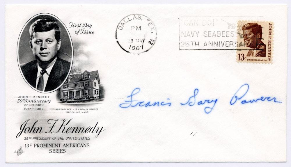 Francis Gary Powers Signed FDC Commemorating JFK's 50th Birthday