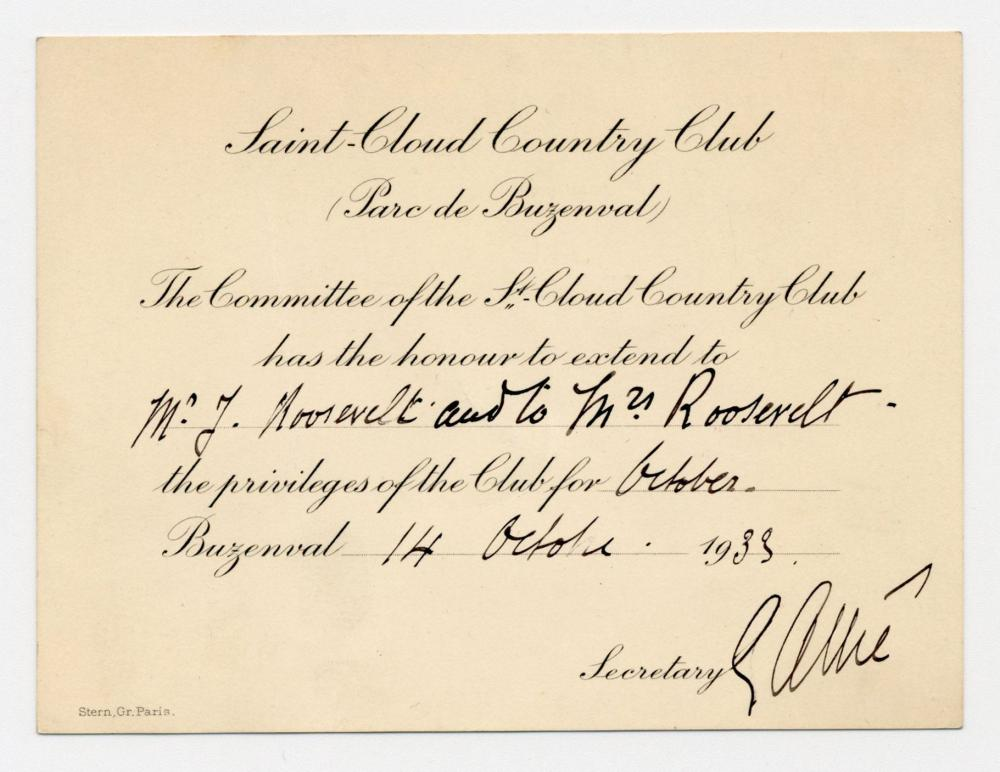 FDR's Son Jimmy & Daughter-in-Law Betsey Gain Entrance to Elite Parisian Country Club