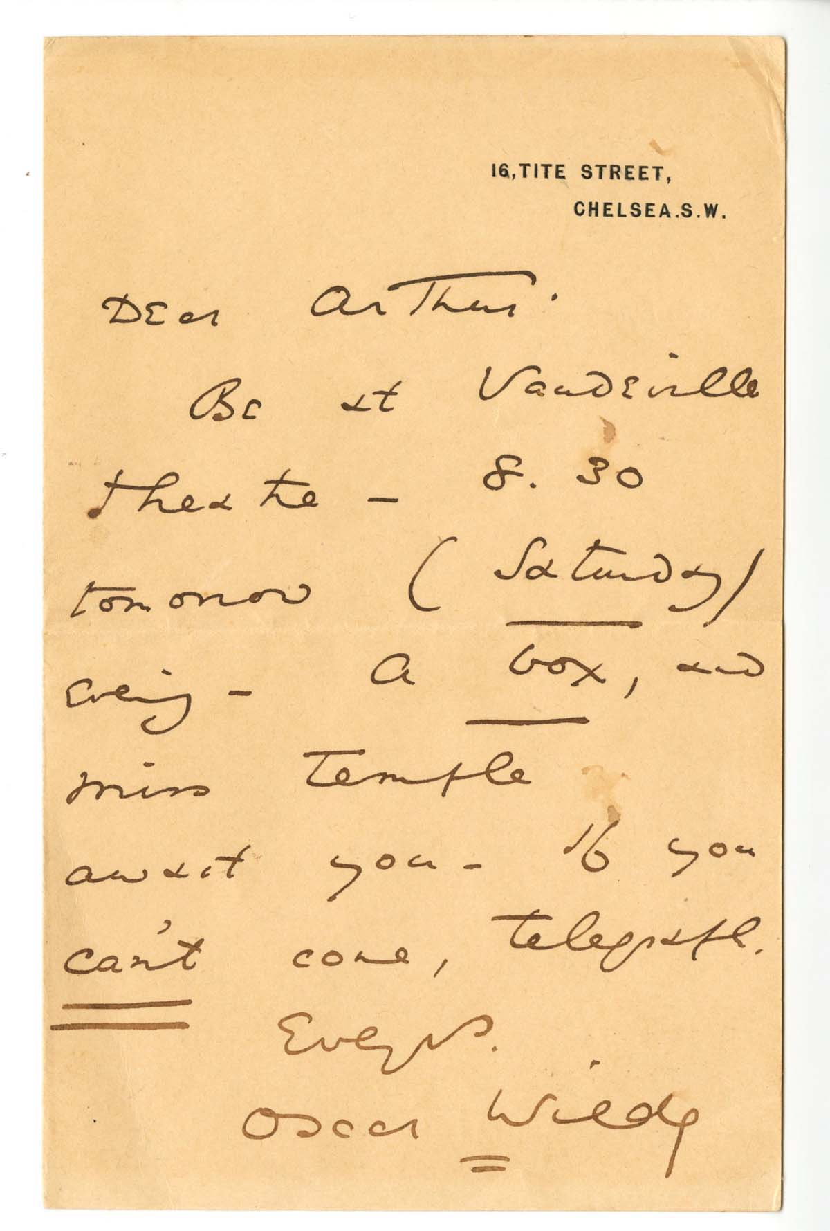 "Oscar Wilde Autograph Letter Signed, ""Be at Vaudeville Theatre"""