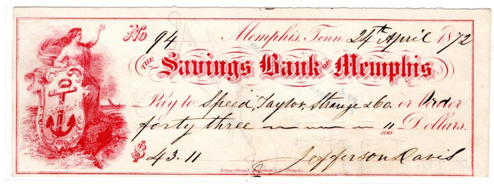 Superb Jefferson Davis Signed Check from Life in Memphis