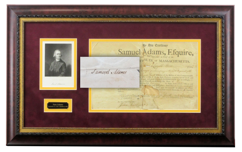 Sam Adams Boldly Signed Document, Superb Display!
