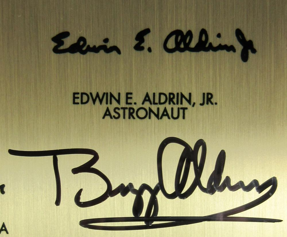 Buzz Aldrin Signed Apollo XI Lunar Plaque Replica