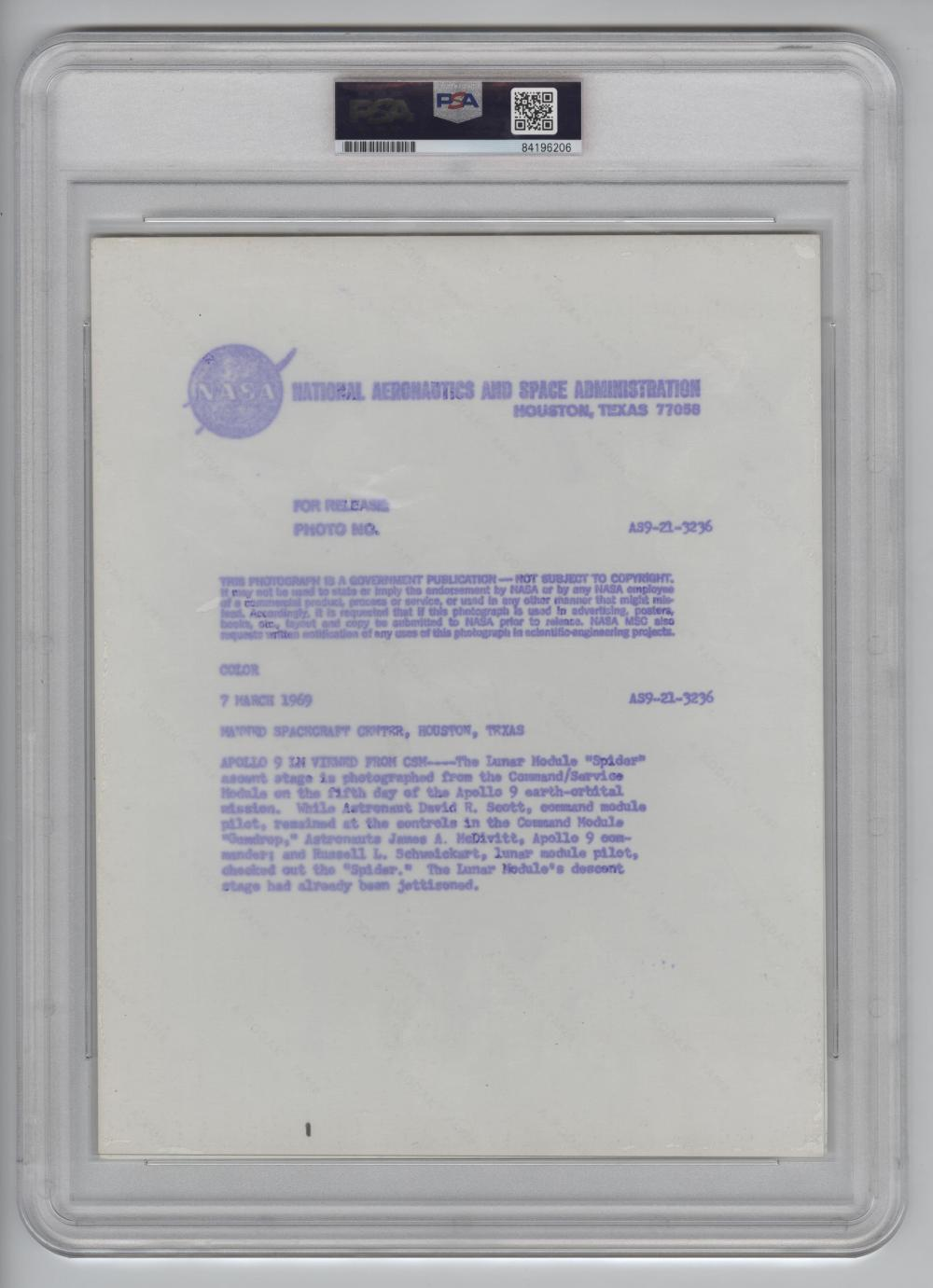 "Official NASA Red Number Photo of Apollo 9 Lunar Module ""Spider"" Viewed From CSM. PSA Slabbed Authentic Type I"