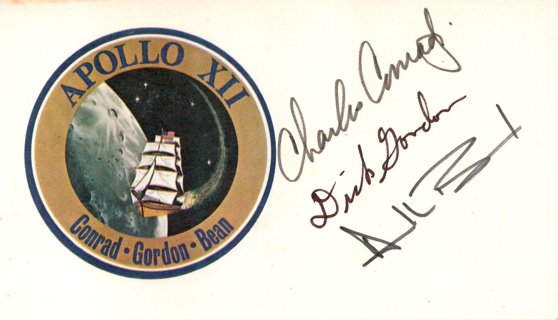 Apollo 12 Crew-Signed Mission Card, Conrad, Gordon, and Bean