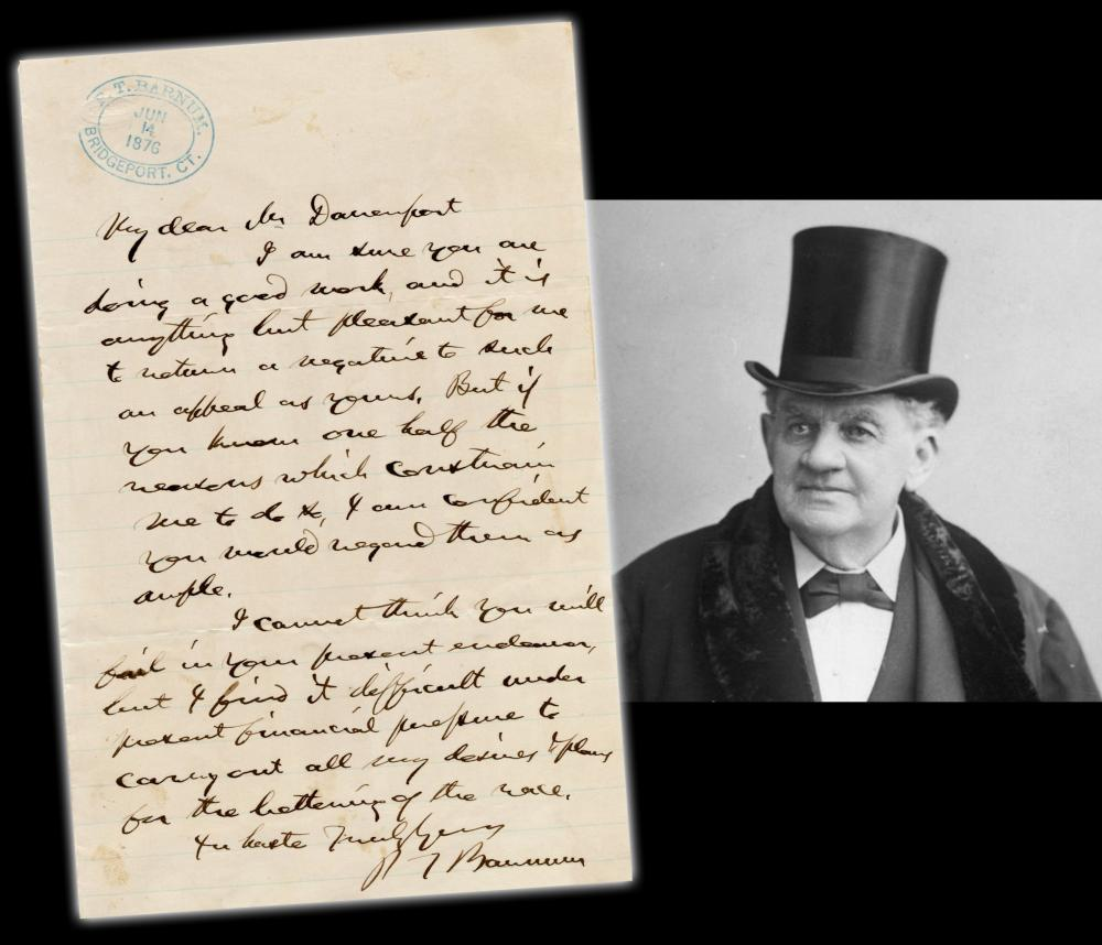 """Phineas T. Barnum Remarkable ALS to Black Preacher: """"my desires + plans for the bettering of the race"""""""