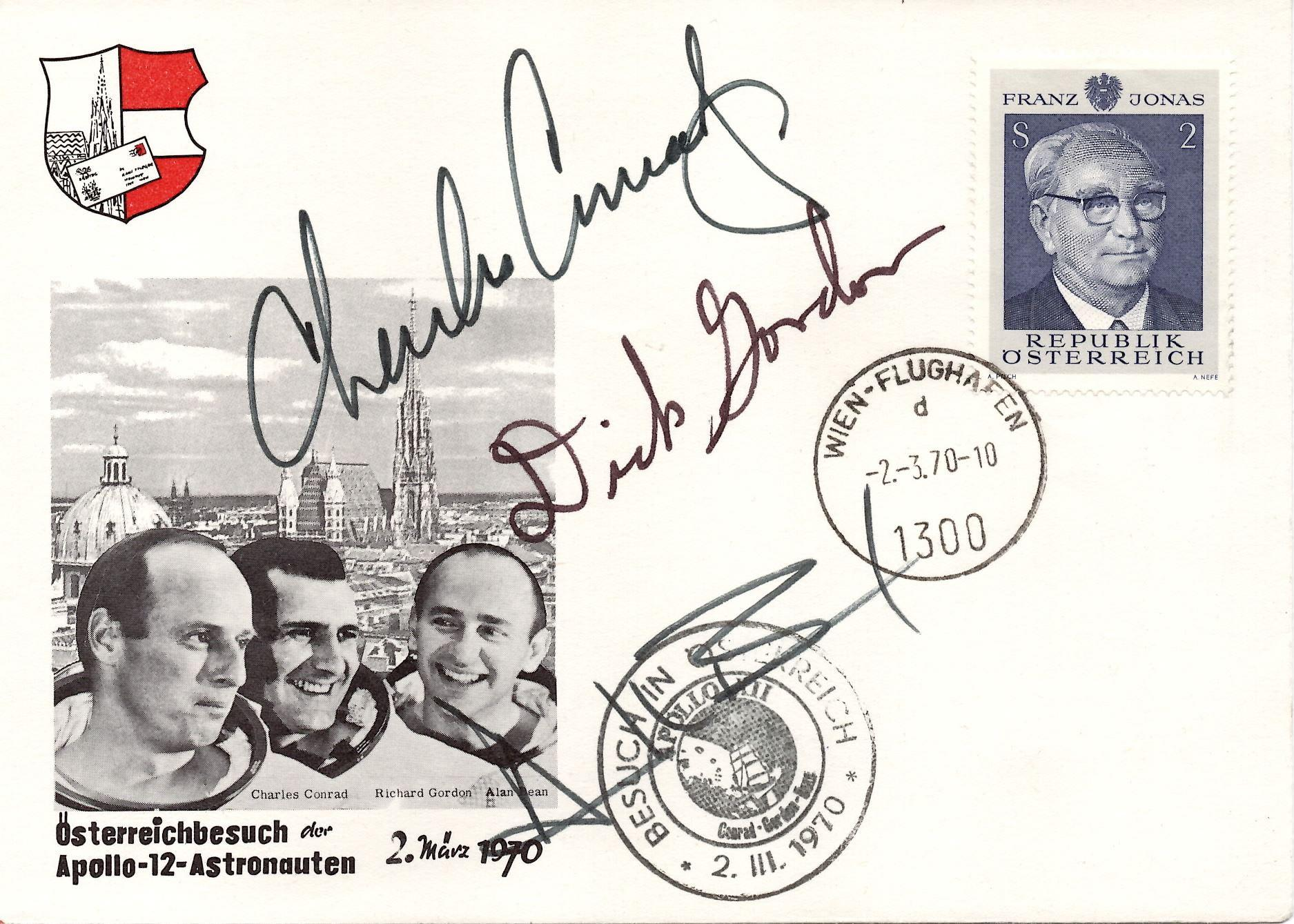 Apollo 12 Crew Signed Austrian FDC, Conrad, Gordon, and Bean