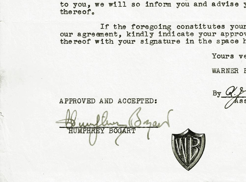 Humphrey Bogart Signed Deal Re: Maltese Falcon and Treasure of Sierra Madre