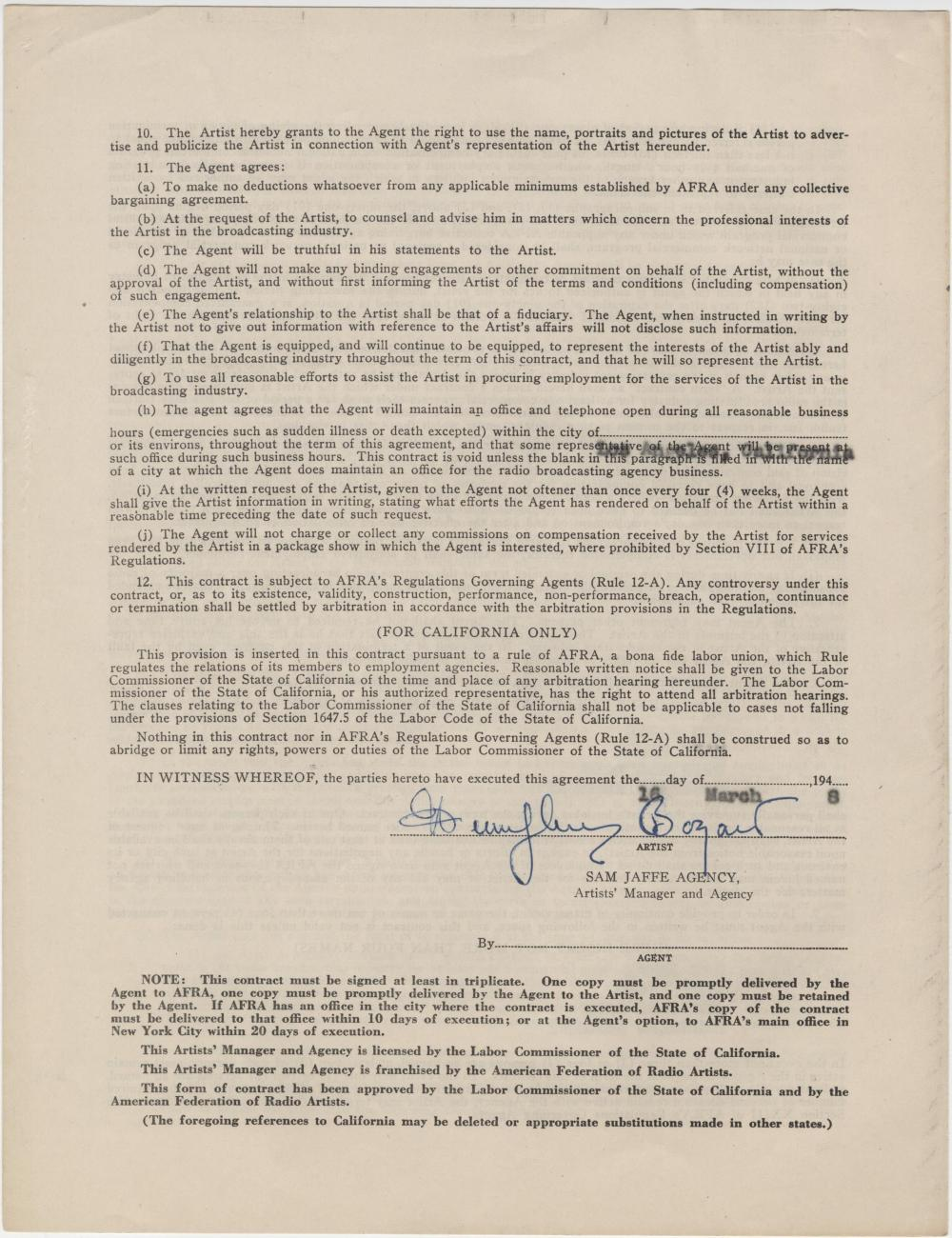 "Humphrey Bogart Signed Contract Covering His ""Casablanca"" Period"