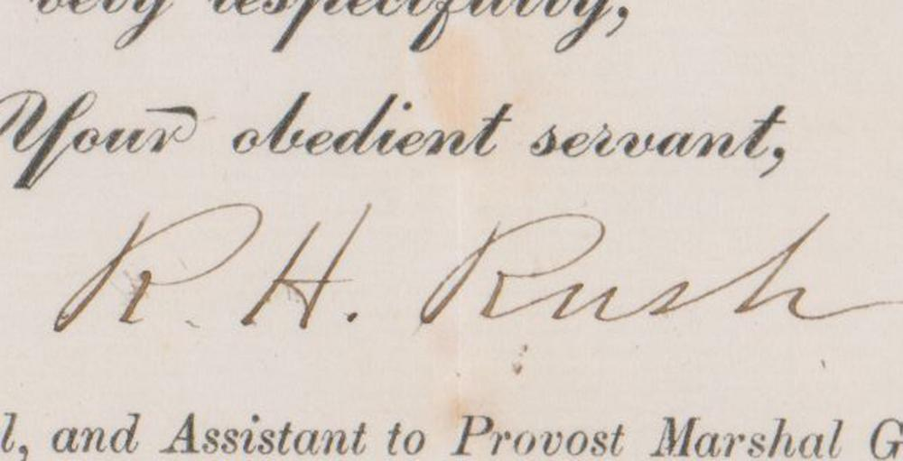 Cavalry Hero Col. Richard H. Rush Signed Military Referral