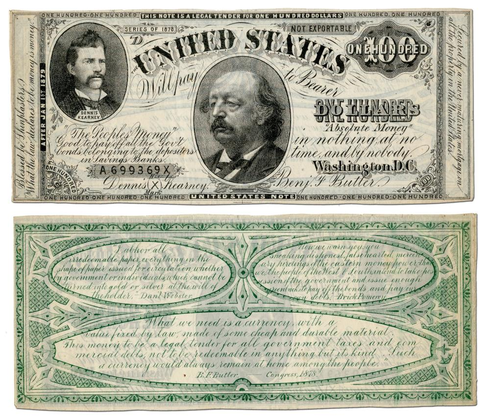 "Benjamin Butler & Greenback Party Satirized with Fictitious $100 Bill of ""Absolute Money"""