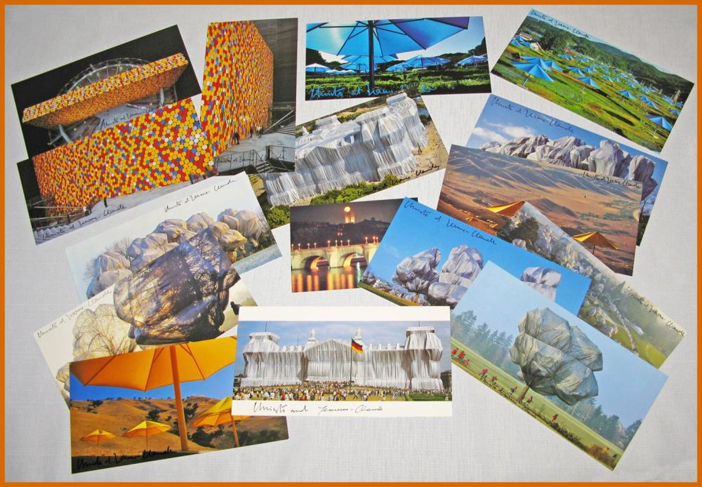 Christo and Jeanne-Claude Custom Case with Original Transparencies and 15 Different Signed Color Postcards