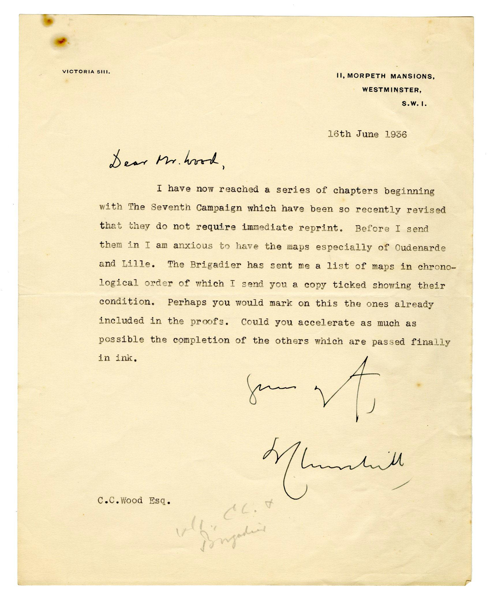 Winston Churchill Inquires About Maps for His Biography of the Duke of Marlborough