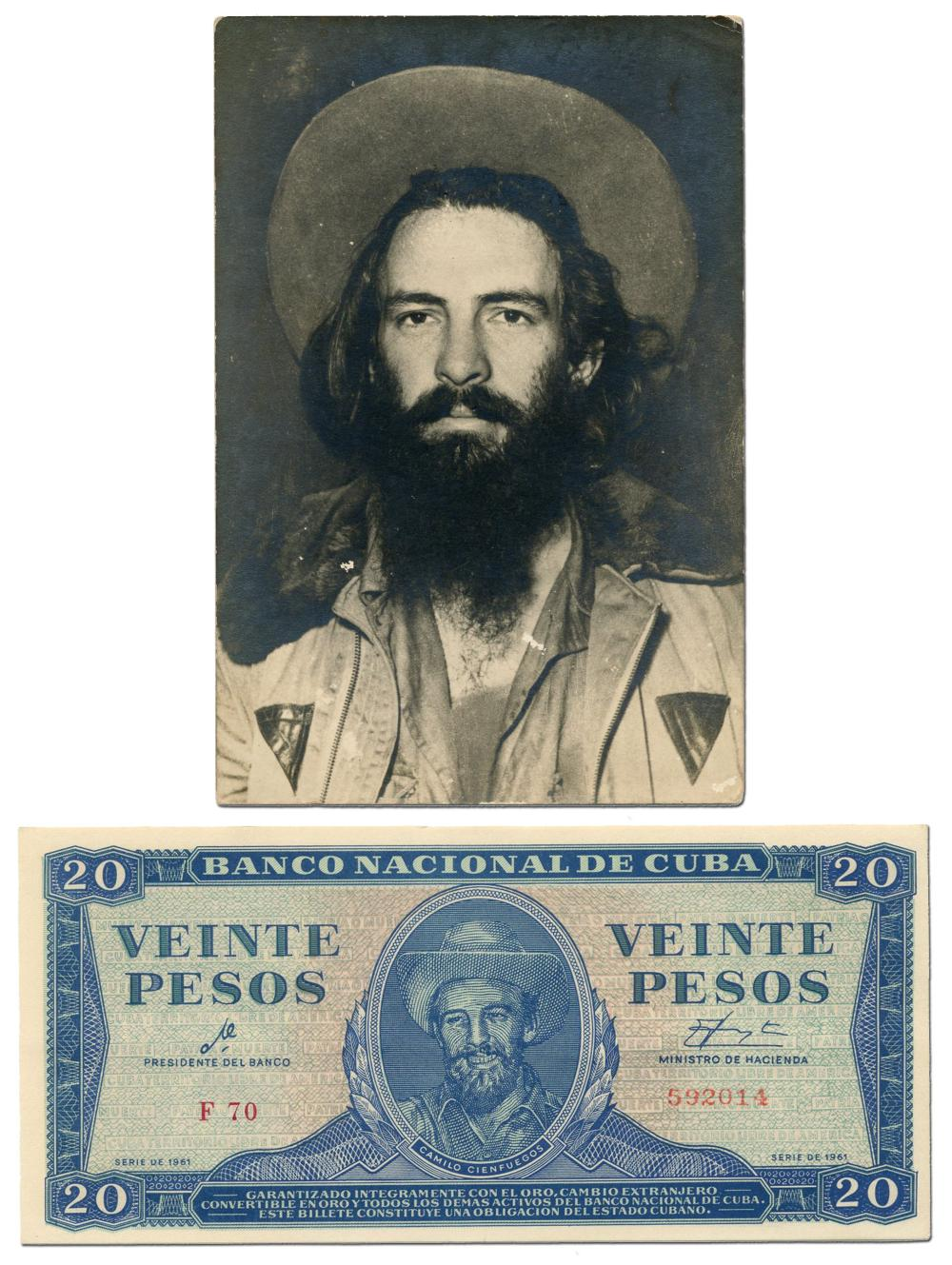 Camilo Cienfuegos, Rare Original Photograph with Bonus Bank Note