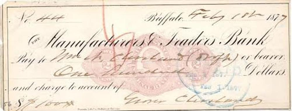 Grover Cleveland Scarce Signed Check, Paid to His Older Brother
