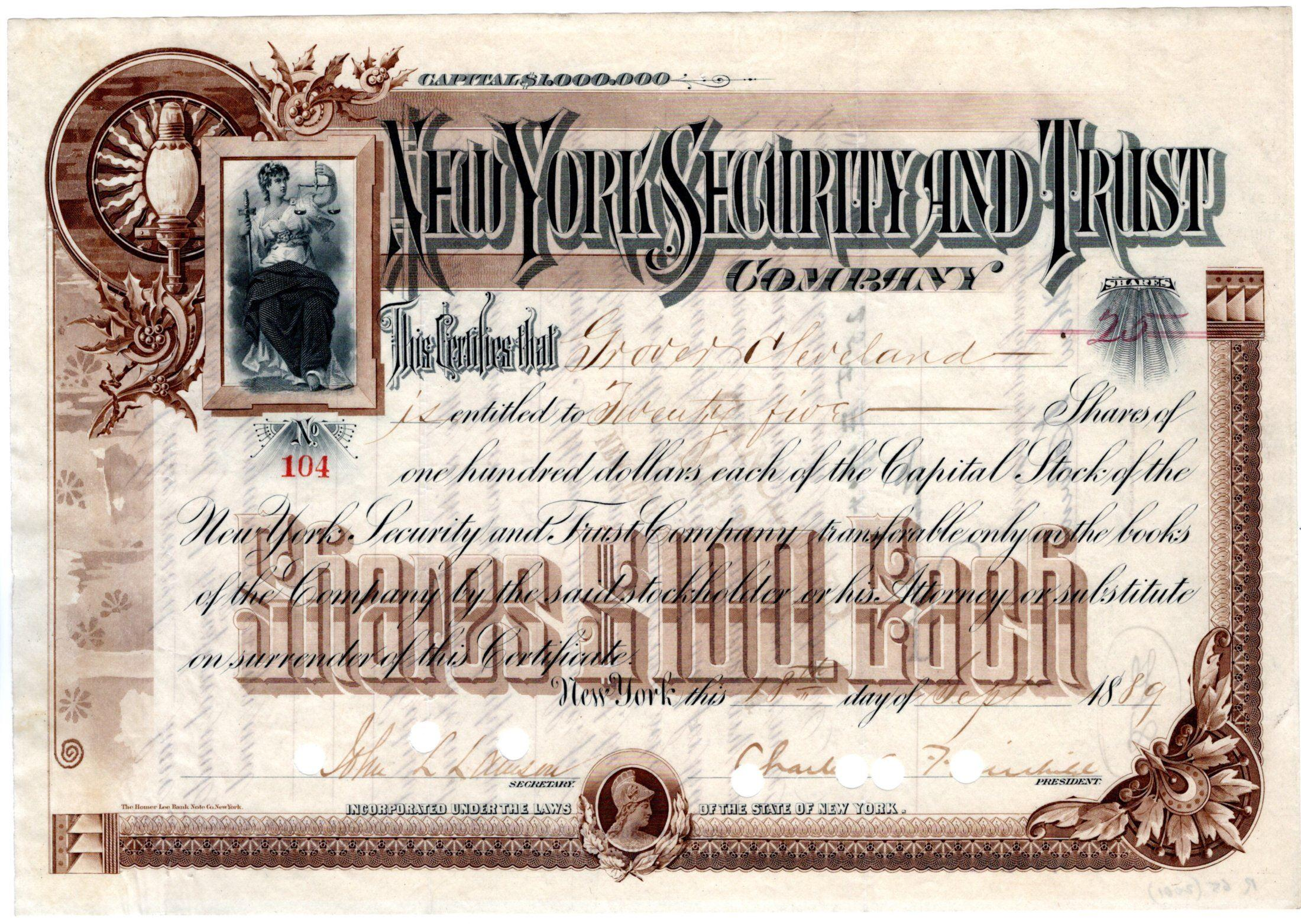Lovely Stock Certificate Issued to Grover Cleveland and Signed by Him on the Verso
