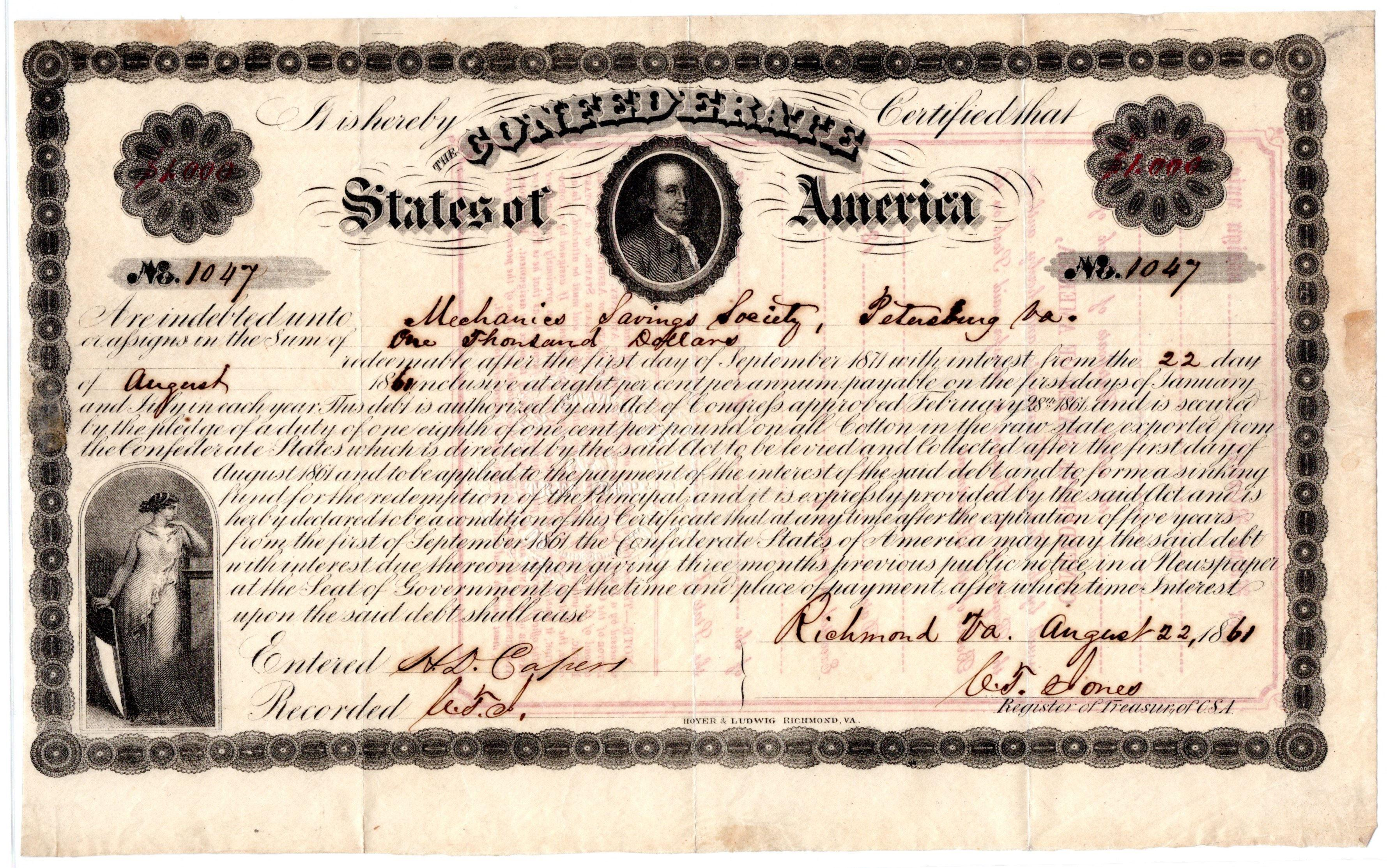 Rare Early Confederate Loan Certificate with Image of Benjamin Franklin