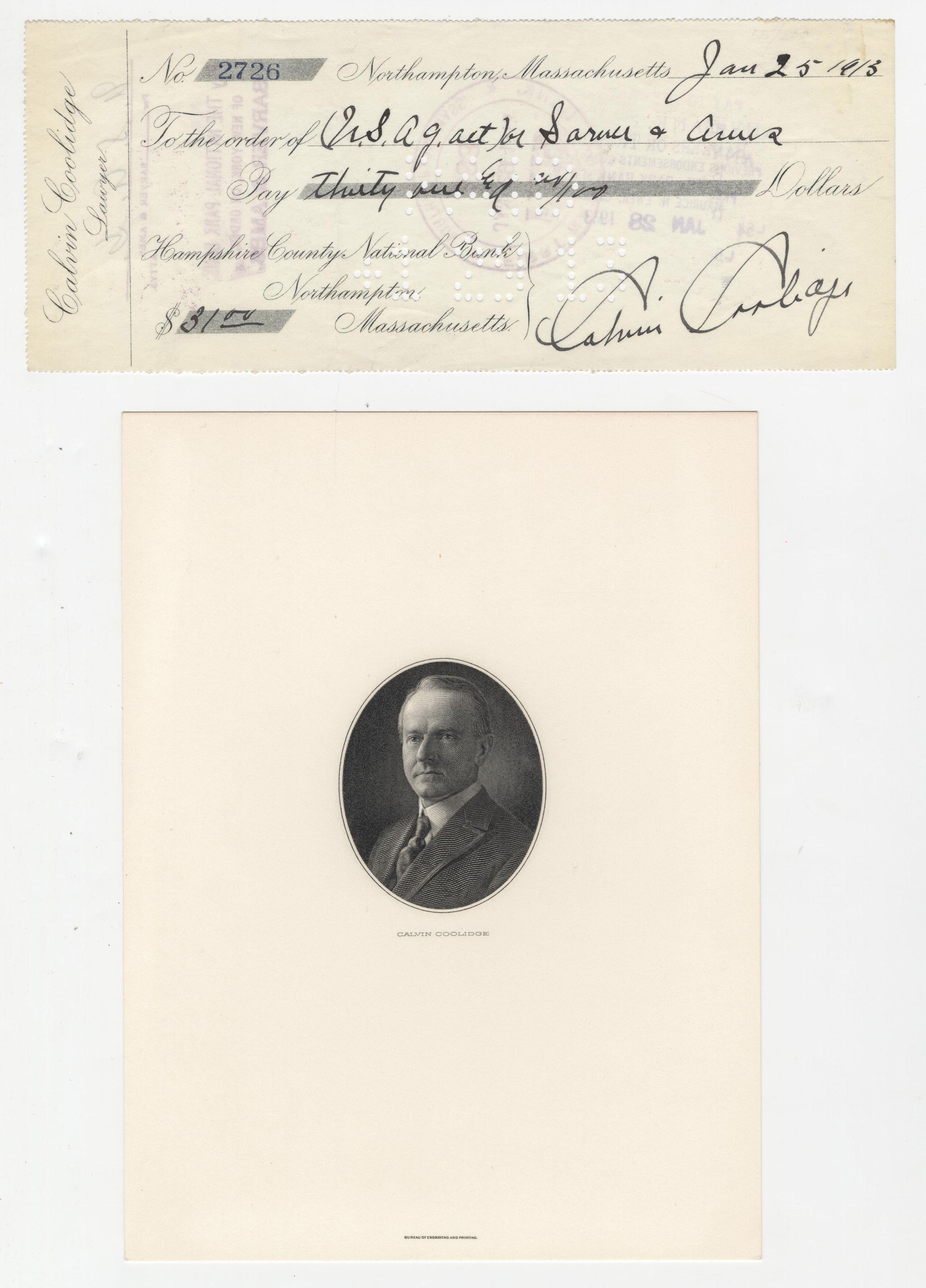 Calvin Coolidge Fantastic Signed Check