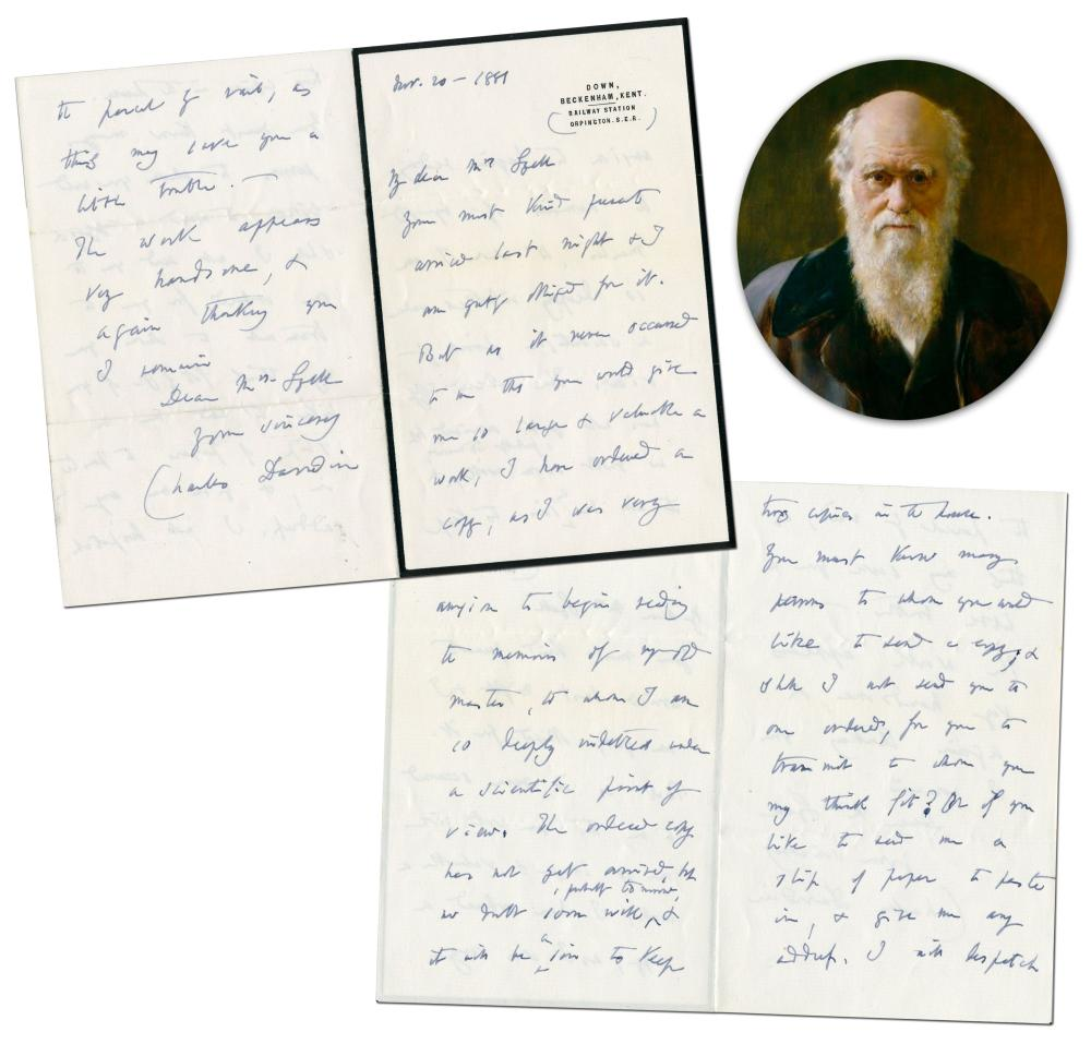 "Charles Darwin ALS Referring to his Mentor, Scottish Geologist Sir Charles Lyell, as ""the old master, to whom I am so deeply indebted under a scientific point of view"""