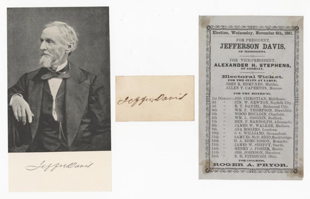 Jefferson Davis Signature & Election Piece