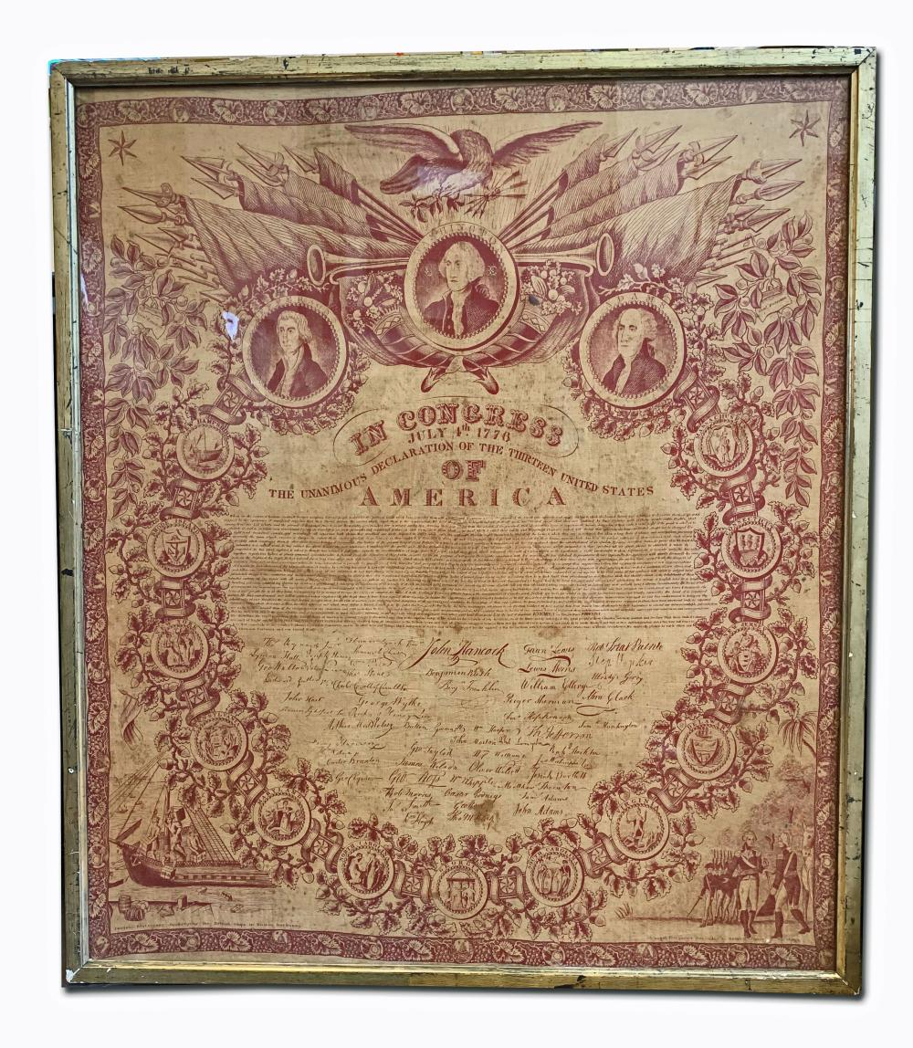 Declaration of Independence Printed on Cambric 1821