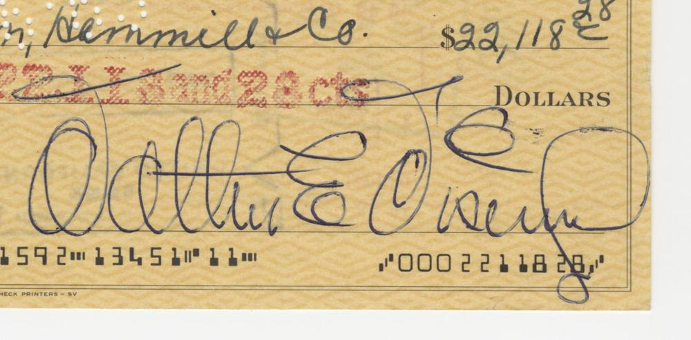Walt Disney Signed Check to Shearson Hammill for over $22,000