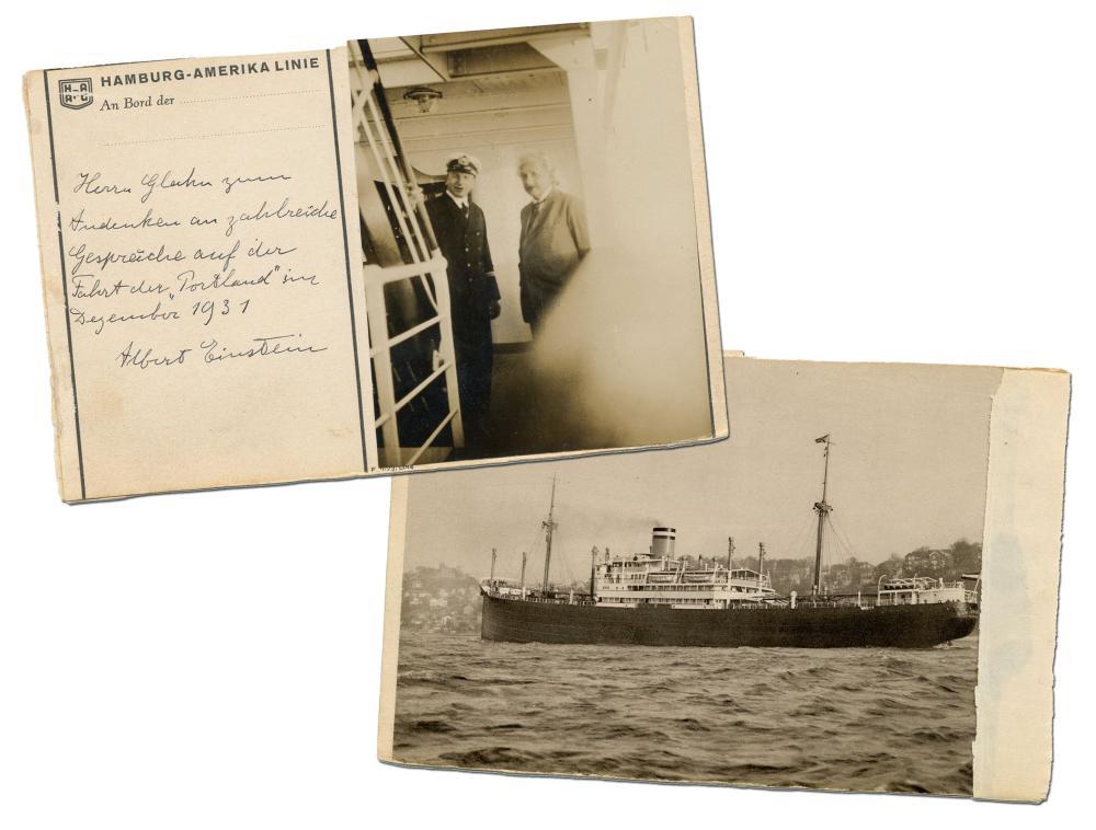 Albert Einstein ALS & Snapshot on Hamburg-American Line Postcard