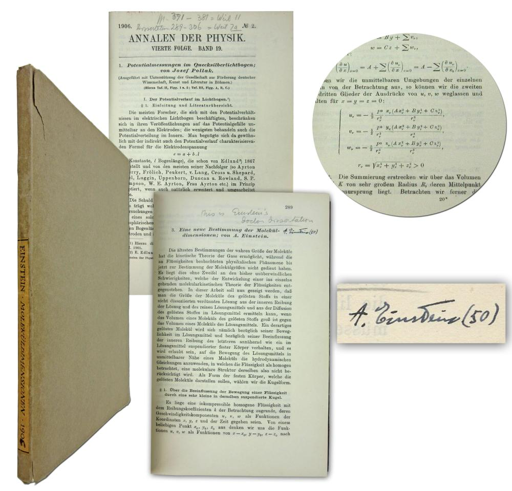 """Albert Einstein Signed Copy of 2 Important Works Incl. His Doctoral Thesis, """"A New Determination of Molecular Dimensions"""" -- Extraordinarily Rare!"""