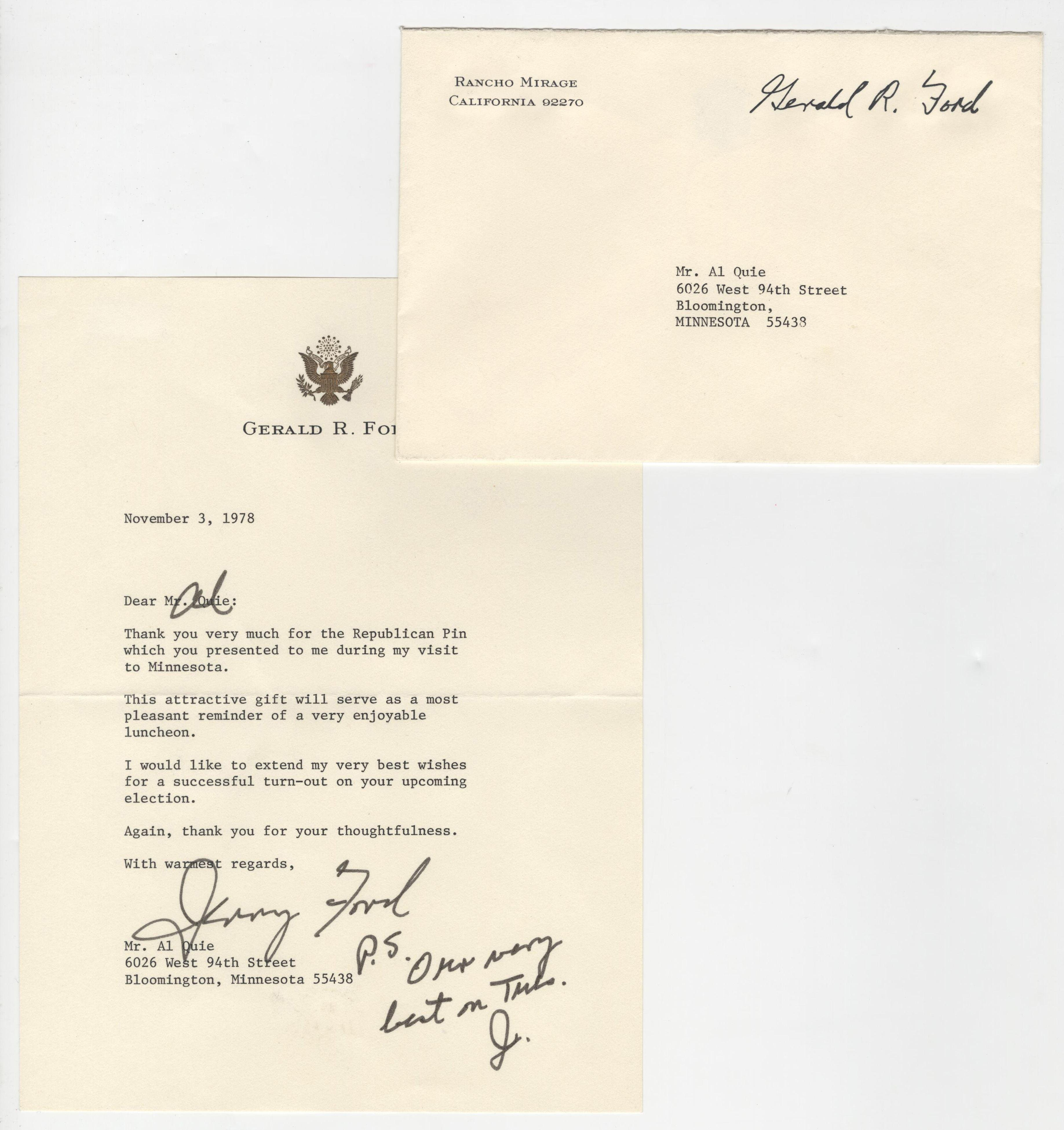 """Gerald Ford Signed Letter """"Thank you for the Republican Pin"""", On Presidential Letterhead"""