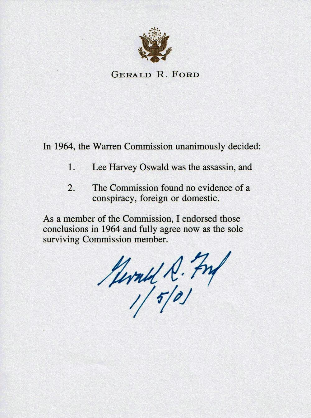 "Gerald Ford Warren Commission Letter, ""Lee Harvey Oswald was the Assassin"""