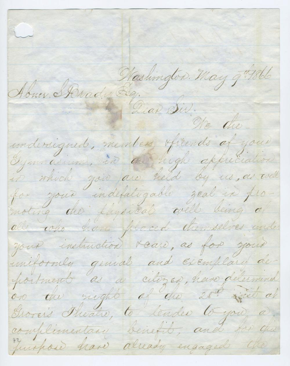 "Rare Letter Signed, ""Alex Gardner,"" ""Ward H Lamon,"" ""Ely S. Parker,"" together with forty other Washington notables"