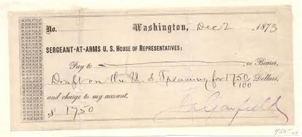 James Garfield Signs a Check For a Draft on the U.S. Treasury