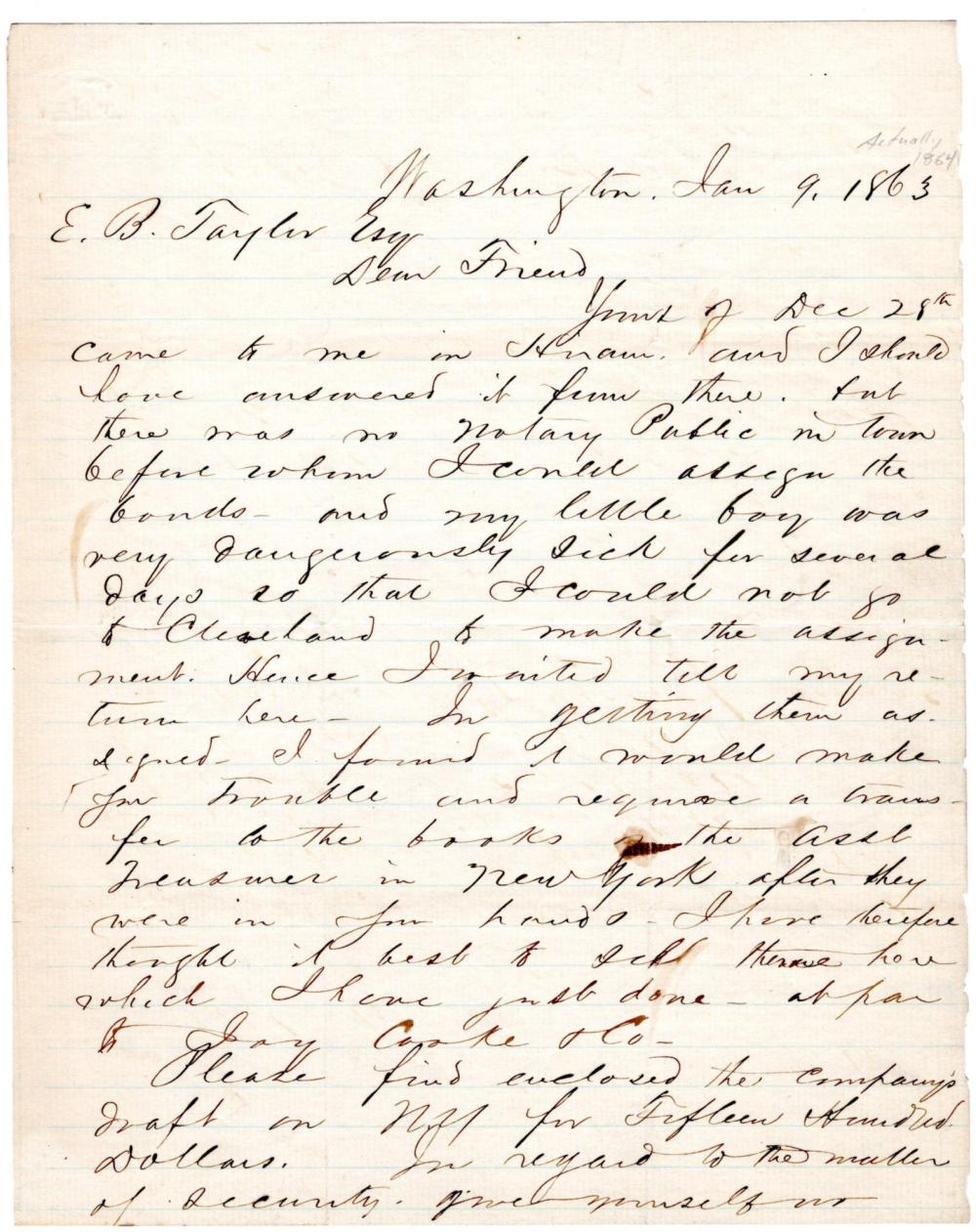 James A. Garfield A Rare War-Dated Heartfelt Letter from a Grieving to His Friend and Successor in Congress