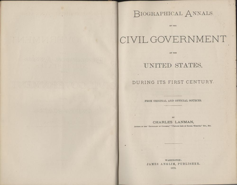 "Ex-Libris James Garfield's Personally Owned Book, ""Biographical Annals of the United States Civil Government"", With Garfield's Personal Bookplate."