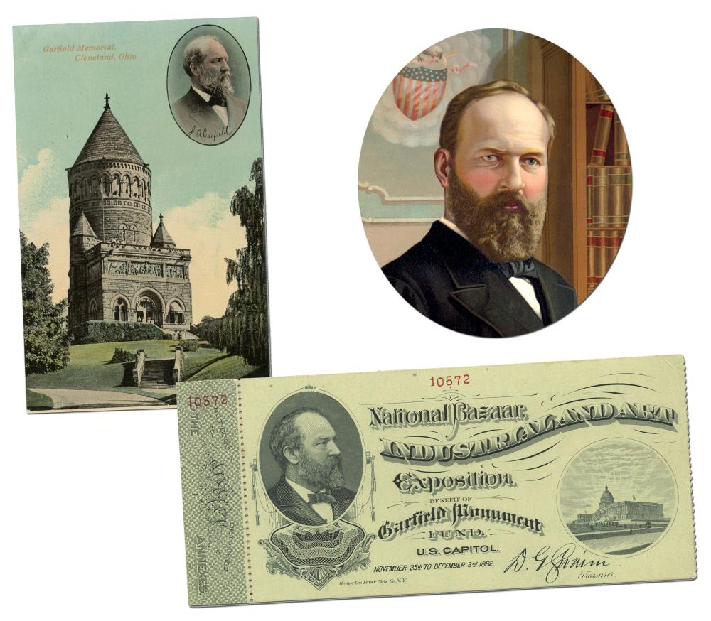 James A. Garfield Memorial Fundraising Event: Finely Engraved Unused Entrance Ticket