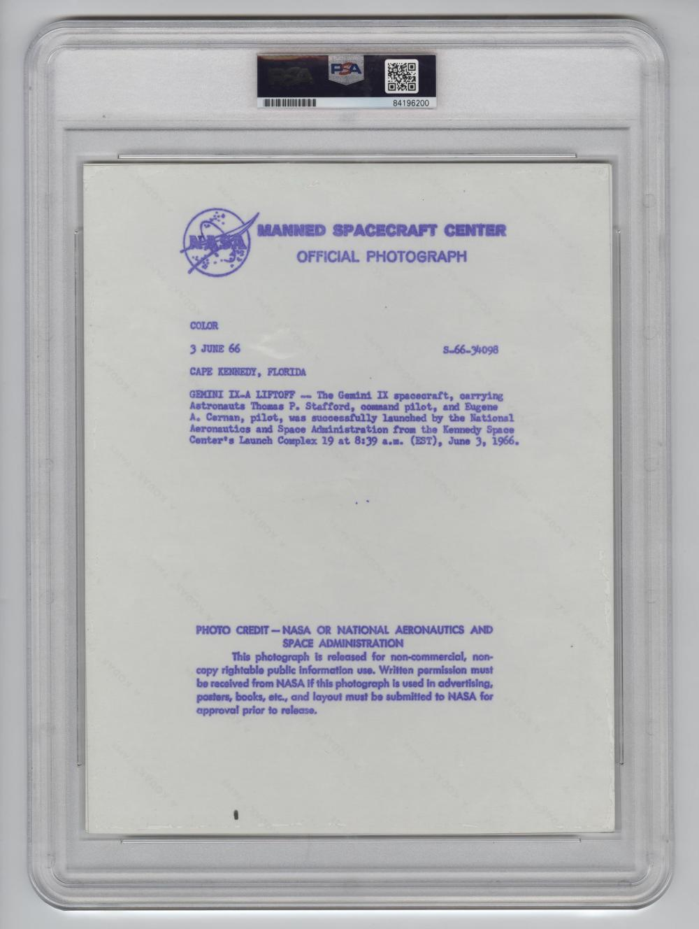 Official NASA Red Number Photo of Gemini IX PSA Slabbed Authentic Type I
