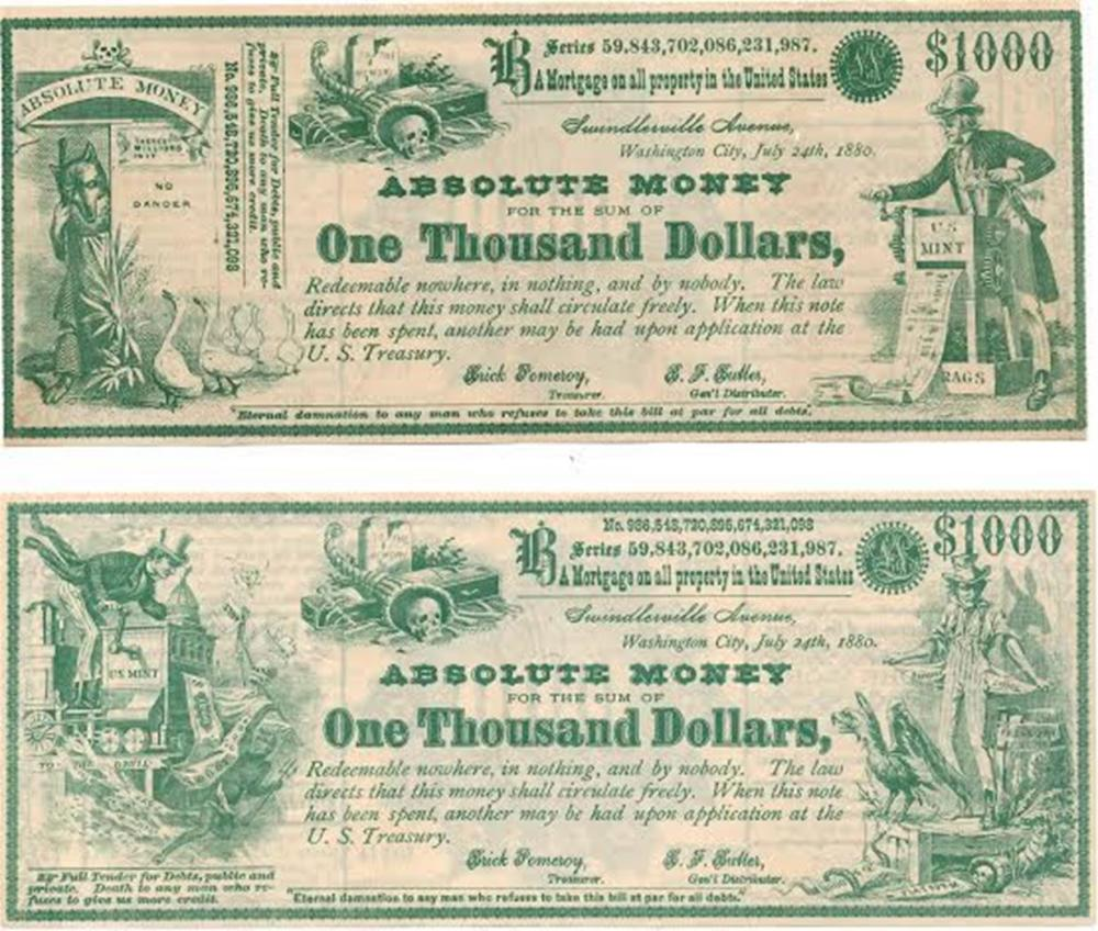 Two $1000 Absolute Money Greenback-Labor Political Notes
