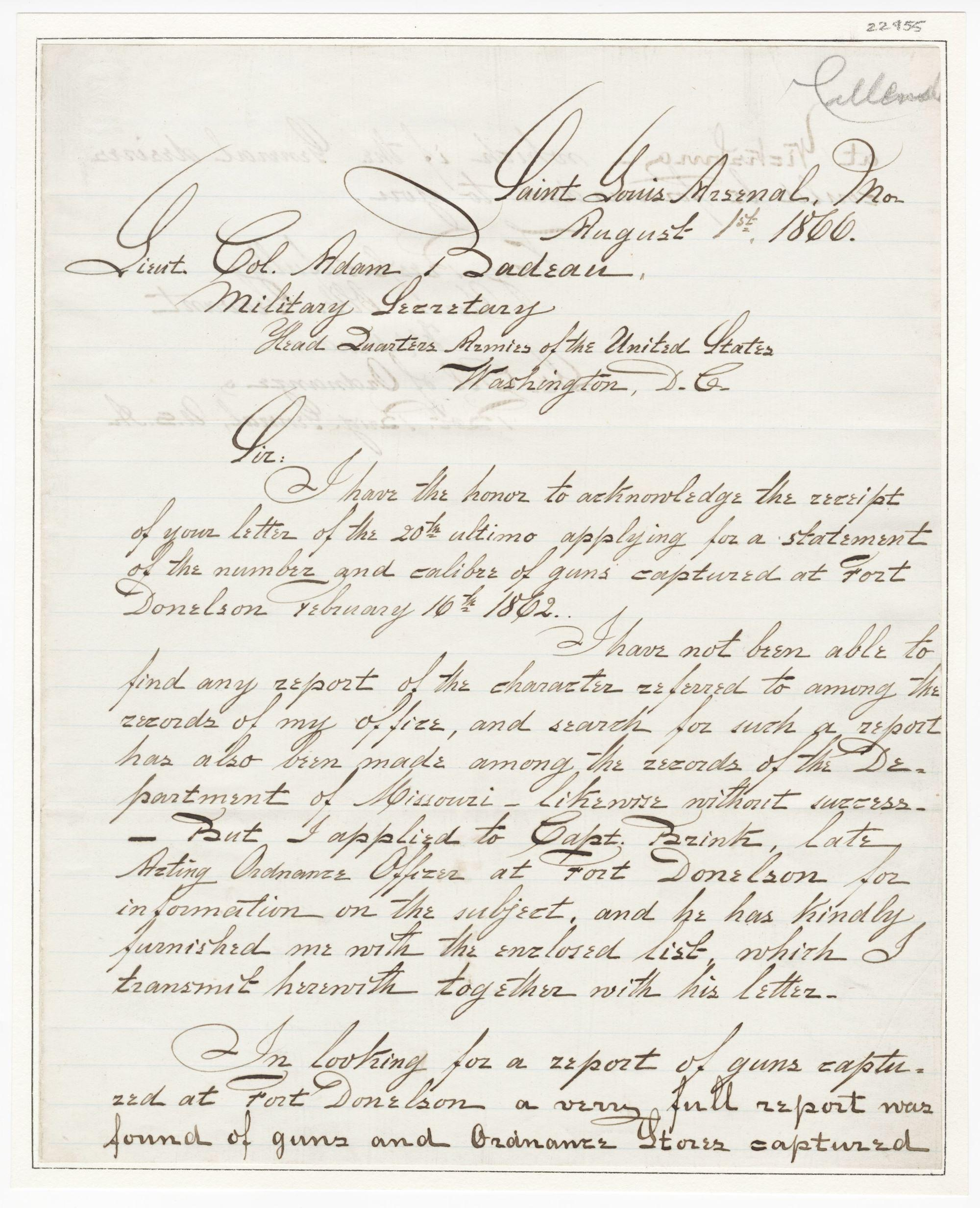 Responding to Grant's Postwar Request for a Report of Guns Captured at Fort Donelson, His First Success
