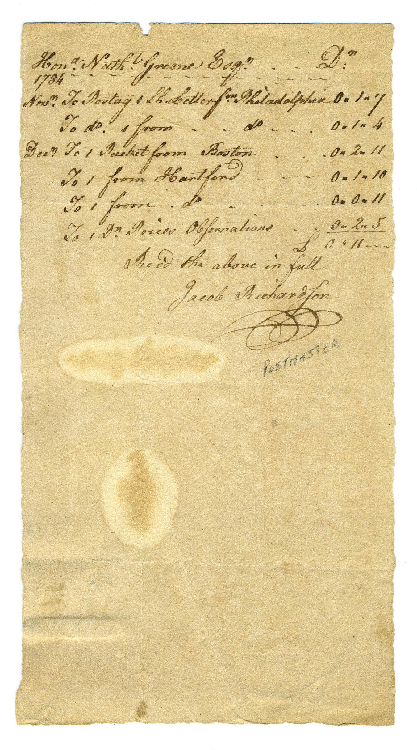 Nathanael Greene Pays His Postal Bill in Newport, Rhode Island