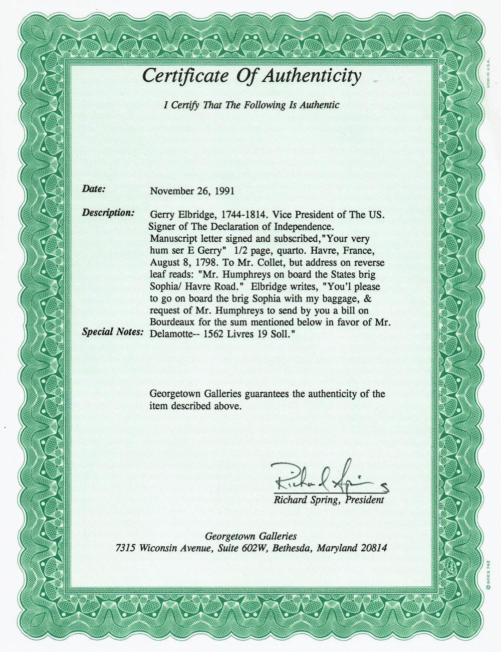 E. Gerry Signer of Declaration of Independence Impressively Displayed & Certified Letter Signed