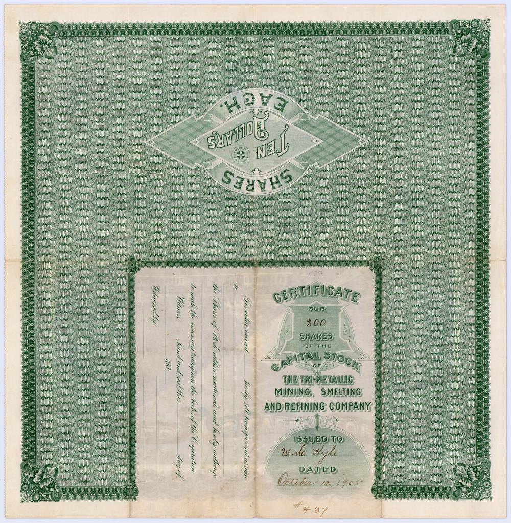 Warren Harding Magnificent Signed Stock Certificate