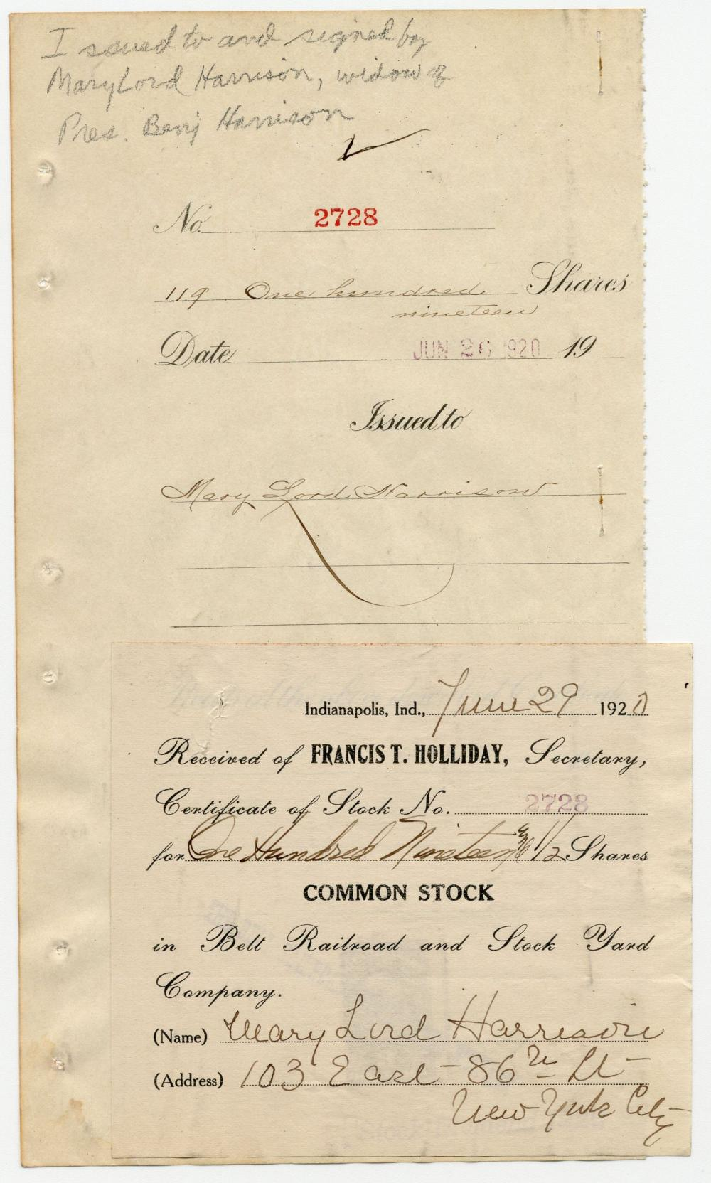 Benjamin Harrison's Female Relatives Invest in Indianapolis Railroad & Stockyard