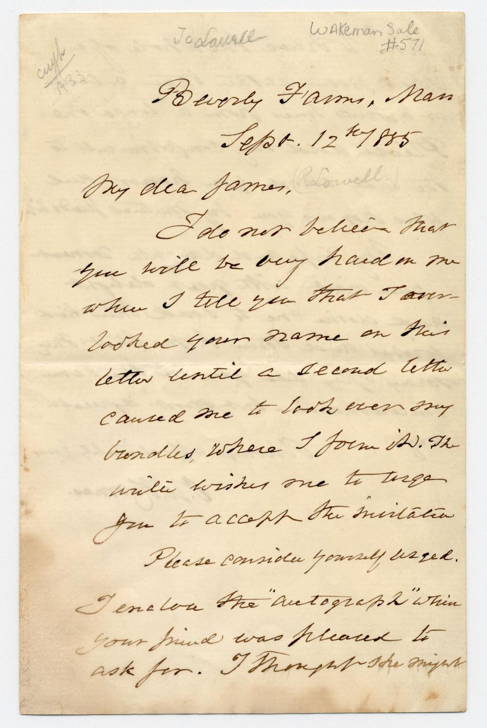 Oliver Wendell Holmes Archive Featuring 11 Items With 11 Signatures, from Over a Nearly 40-Year Period