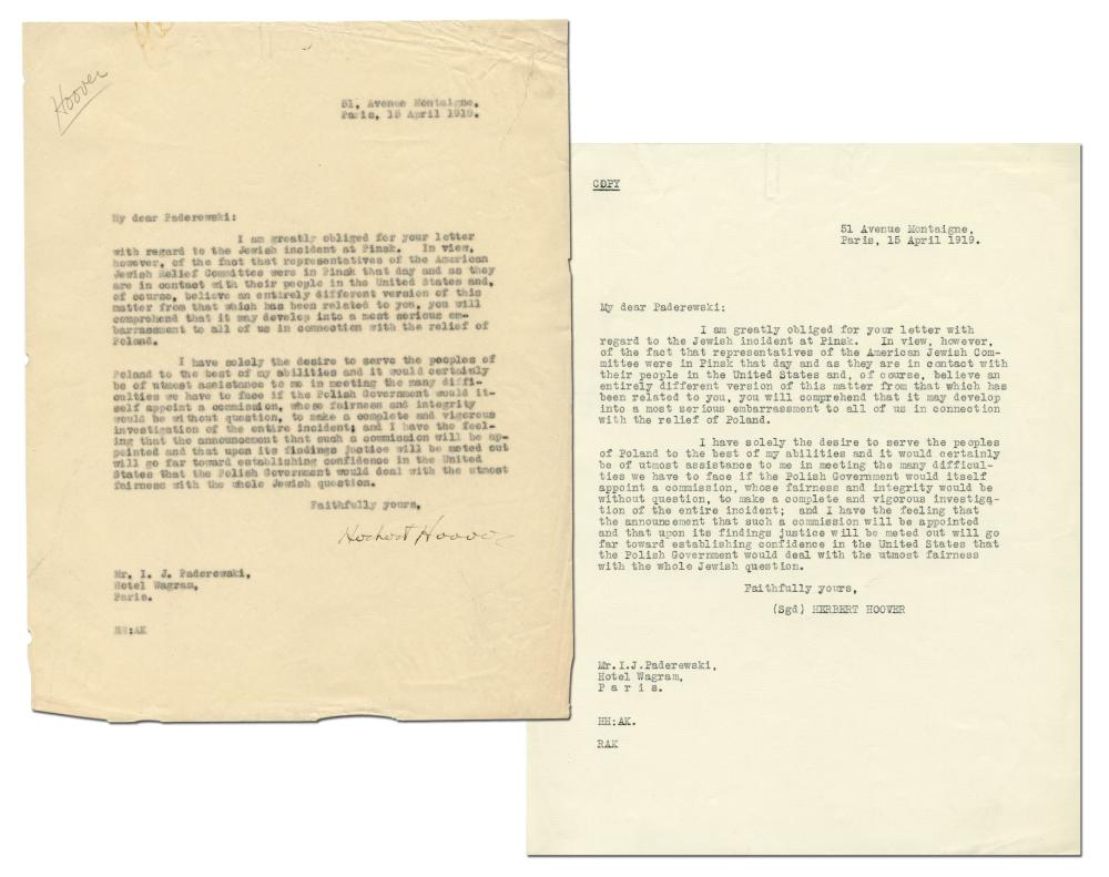 "Herbert Hoover TLS to Polish Prime Minister Re: ""Jewish incident at Pinsk"""