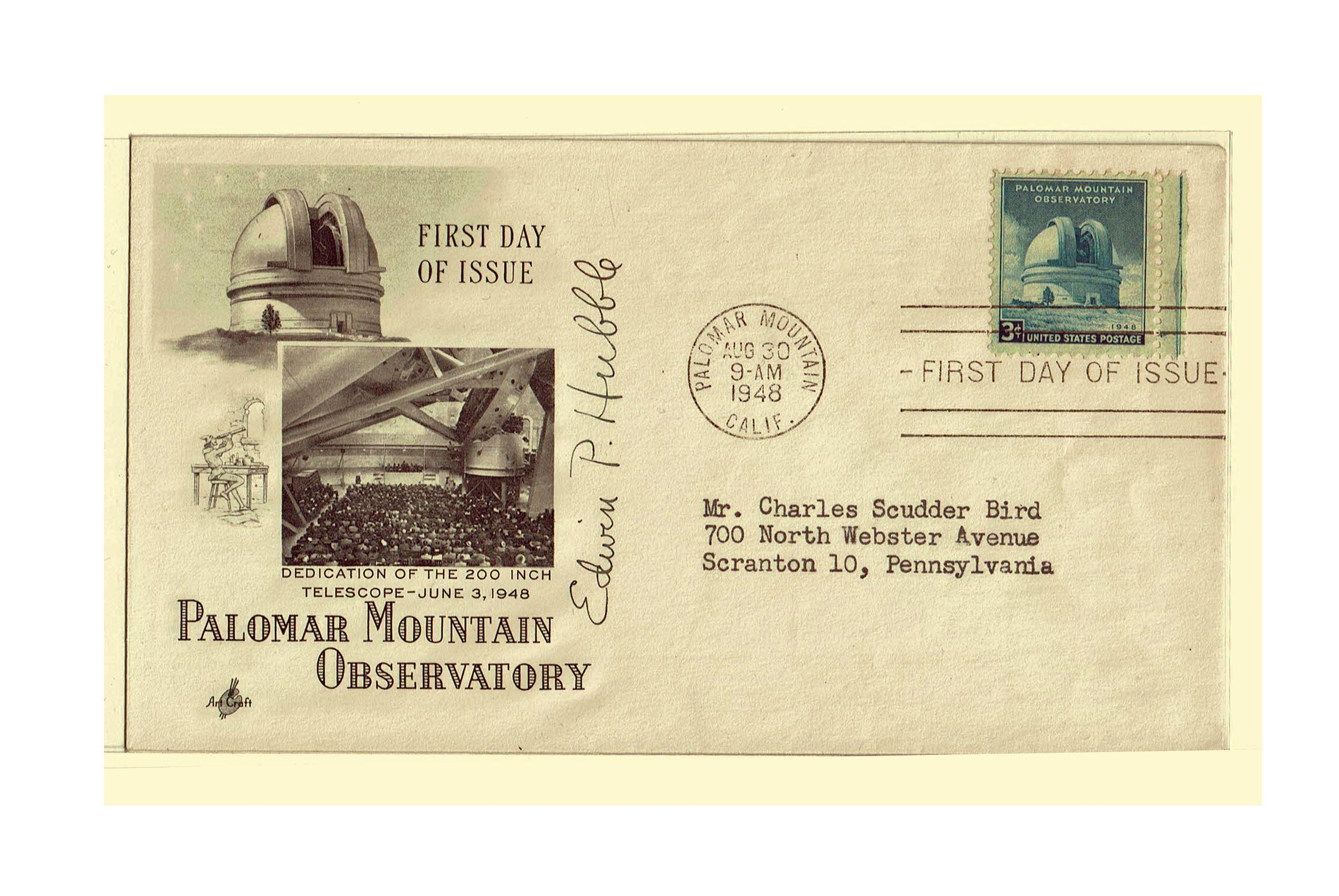 Edwin Hubble Signed First Day Cover 1948
