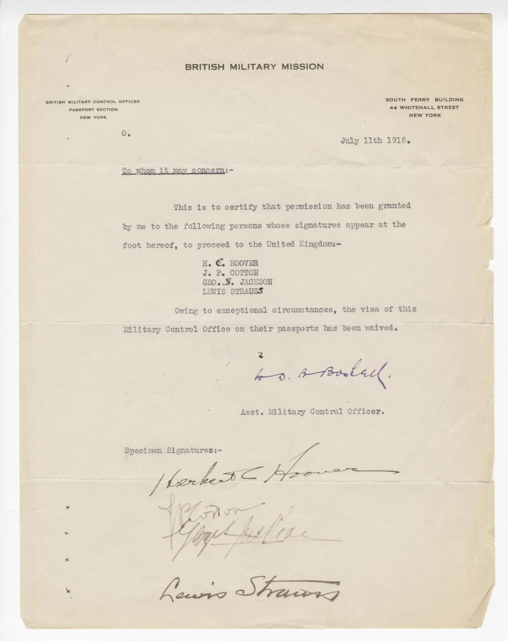 Herbert Hoover Signed Letter Giving Permission to go to the UK During Wartime