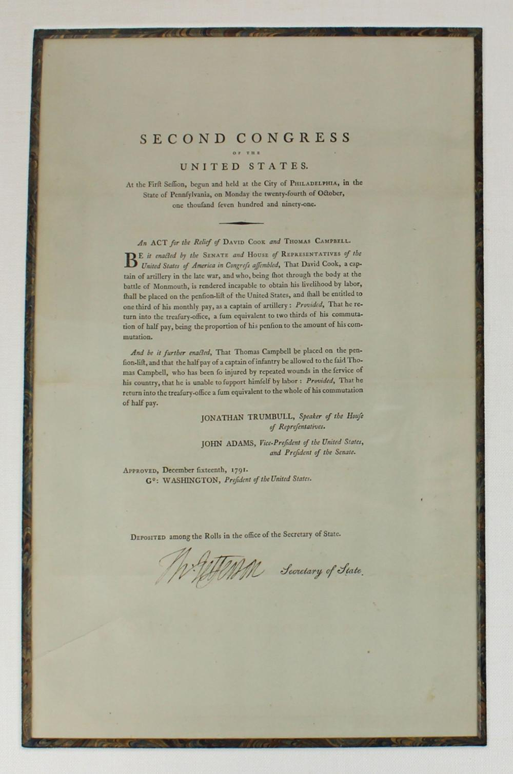 Thomas Jefferson Superb Signed Act of Congress, Fabulous Display