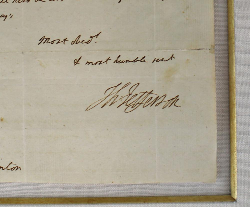 """Thomas Jefferson ALS to His Future VP Clinton, About """"A man of literature and a genuine republican"""""""