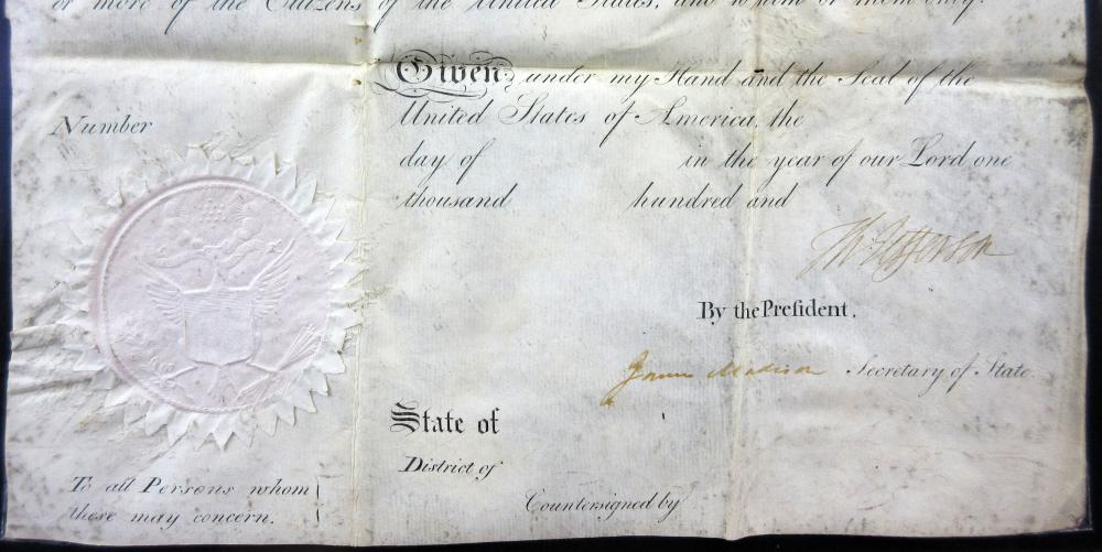 Thomas Jefferson & James Madison Signed Scalloped Ship's Passport