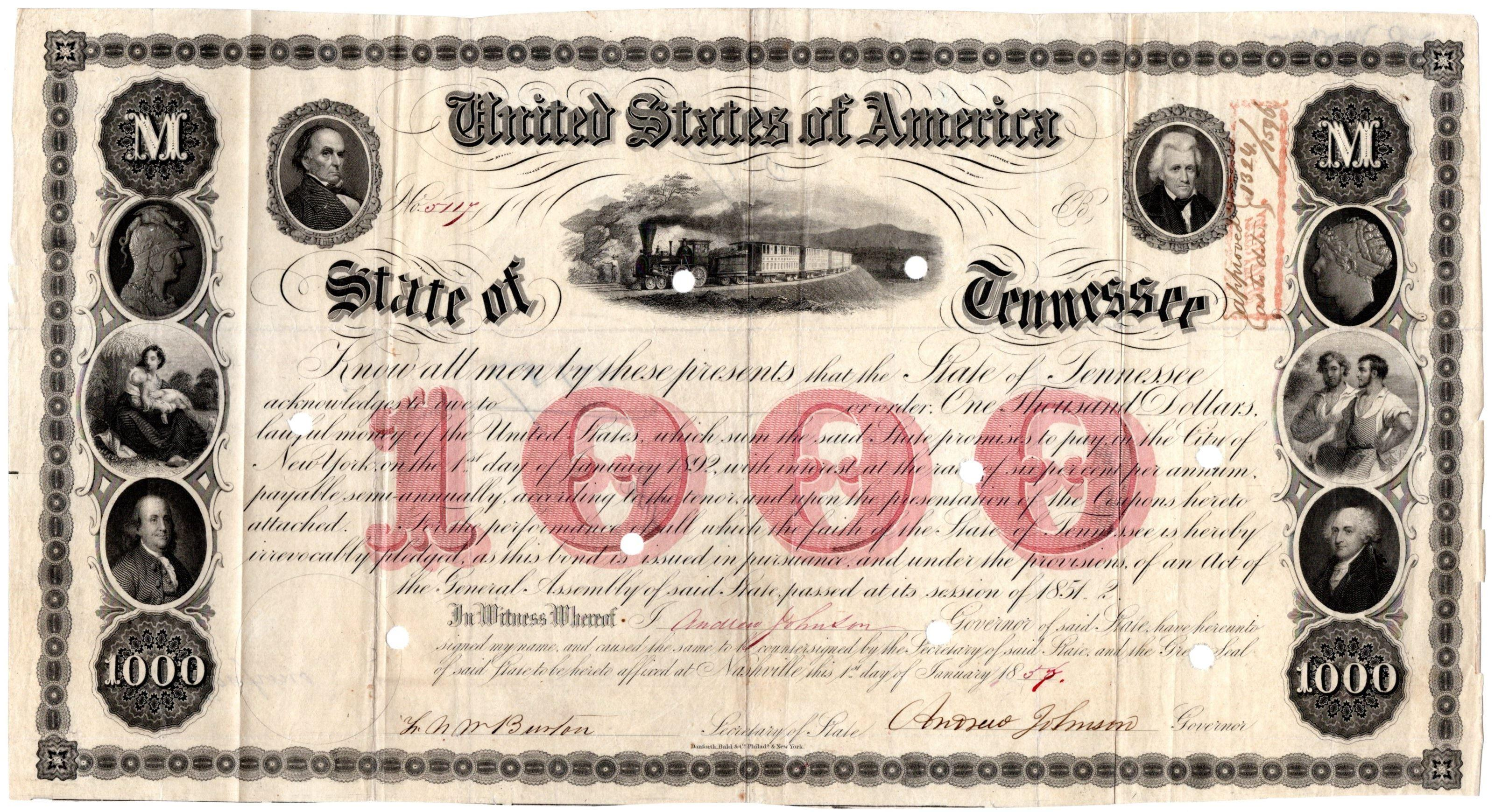 Andrew Johnson Tennessee Bond with Interesting Backstory